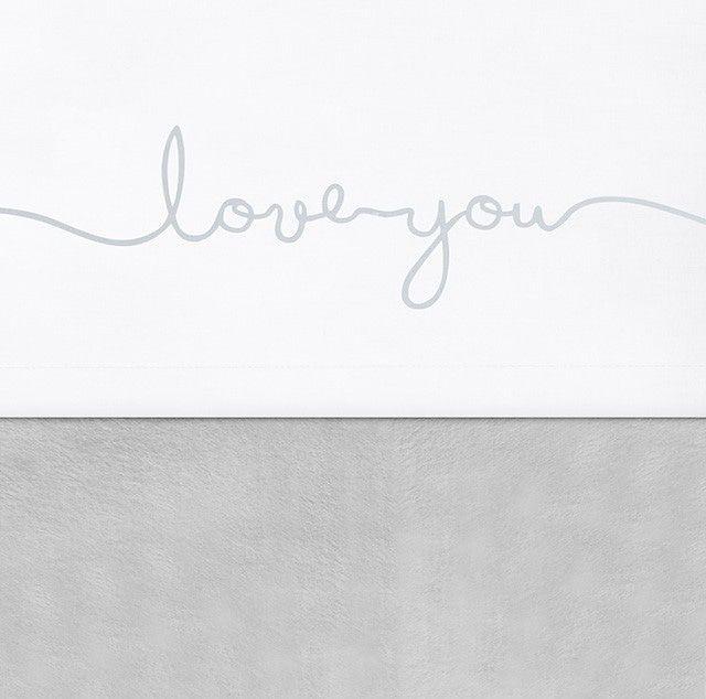 Laken Wieg Jollein Love You Grey