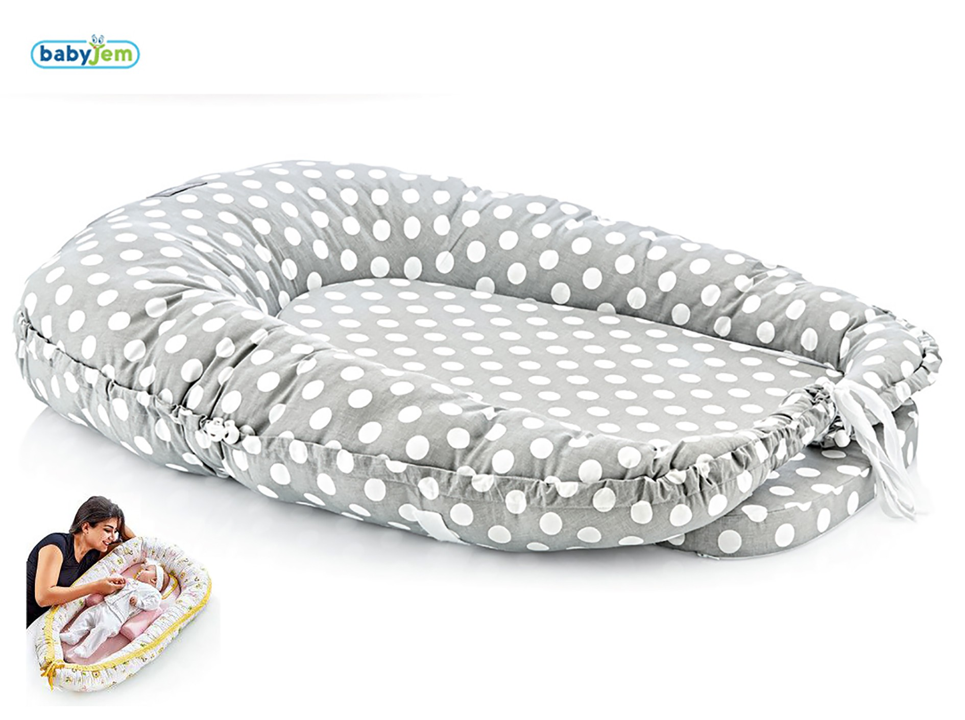 Image of BabyJem 5 Functions Cushion Grey Dots 35271