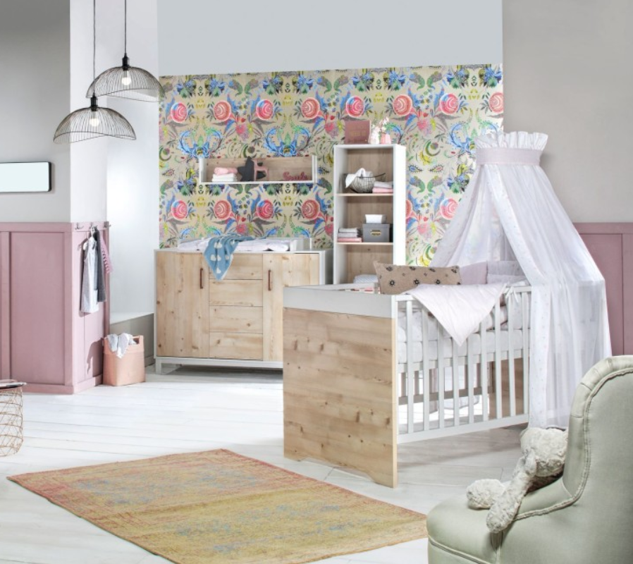 Babykamer Timber Ledikant + Commode Pinie