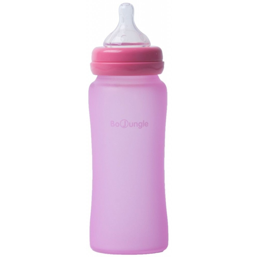 Image of Bo Jungle Fles B-Thermo Silicone Glass 300ml Pink 31302