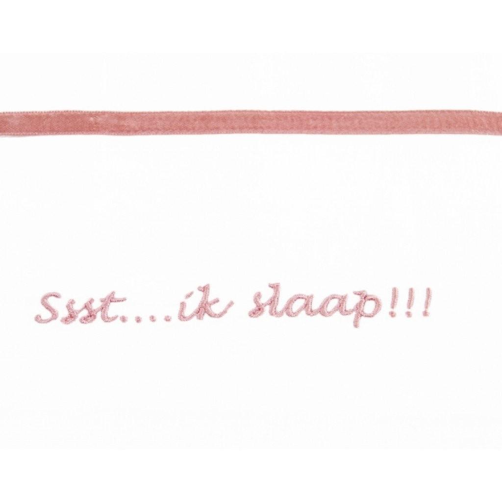 Laken wieg 75x100 Ssst Ik Slaap Grey Pink