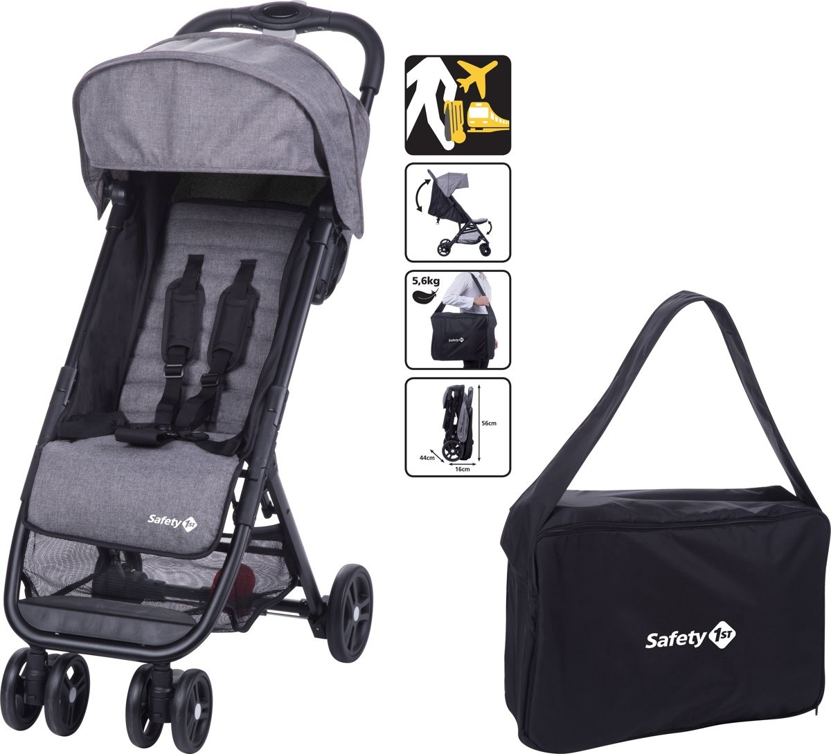 Buggy Safety 1st Teeny Black Chic + Transporttas