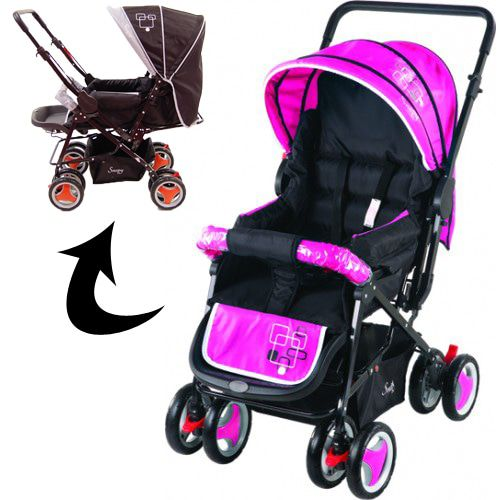 Kinderwagen Johnson Snopy Black-Pink