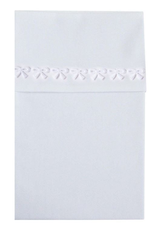 CottonBaby ledikantlaken strikjesband wit