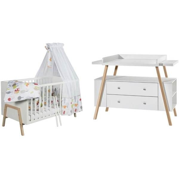 Babykamer Hollywood Ledikant + Commode Nature