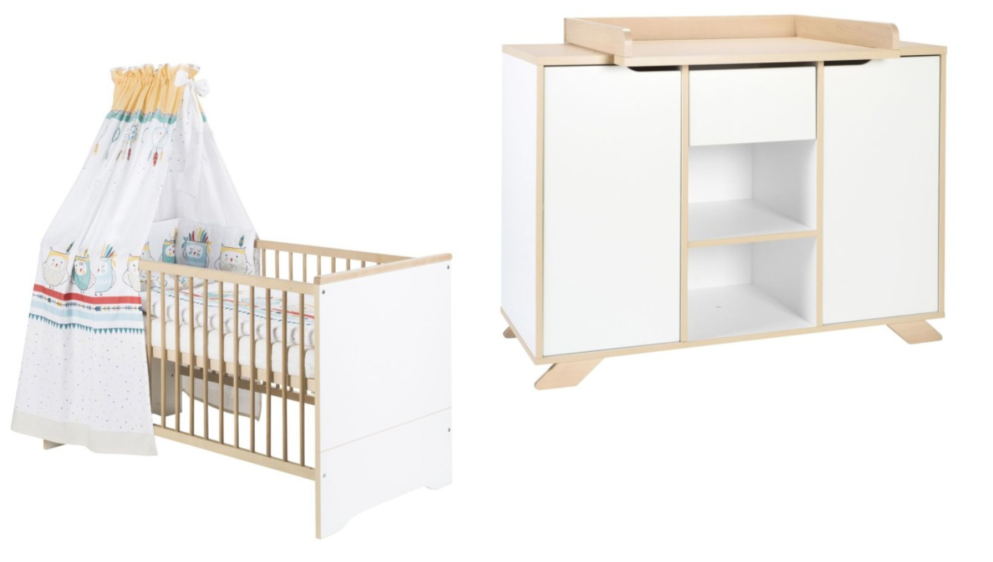 Babykamer Tokio Ledikant + Commode Naturel-White