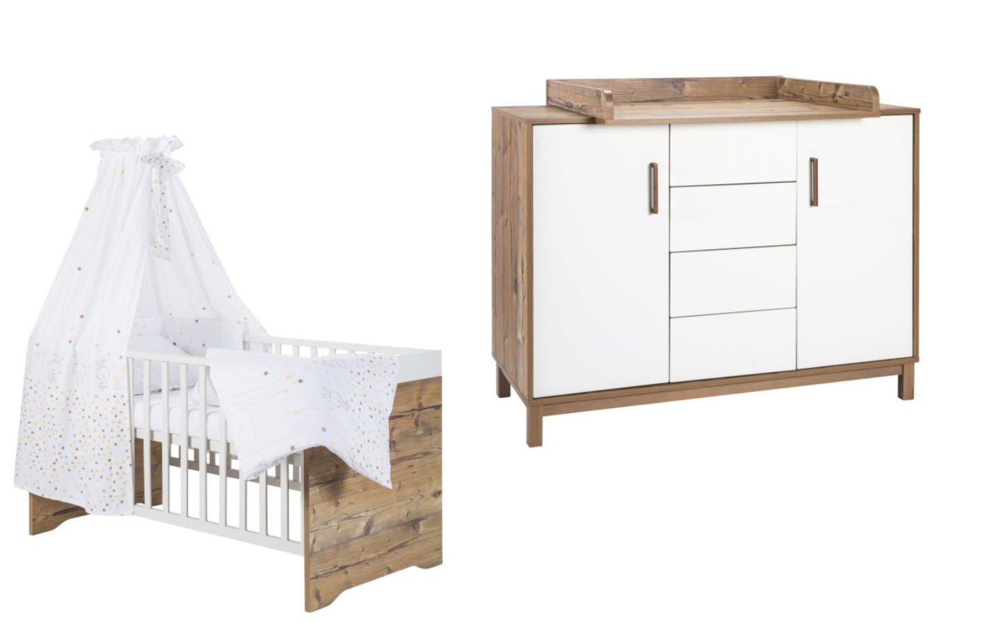 Babykamer Timber Ledikant + Commode White-Spruce