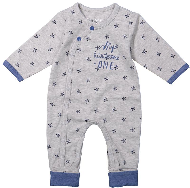 Image of Boxpak Dirkje Stars Grey Melee/Blue 28621