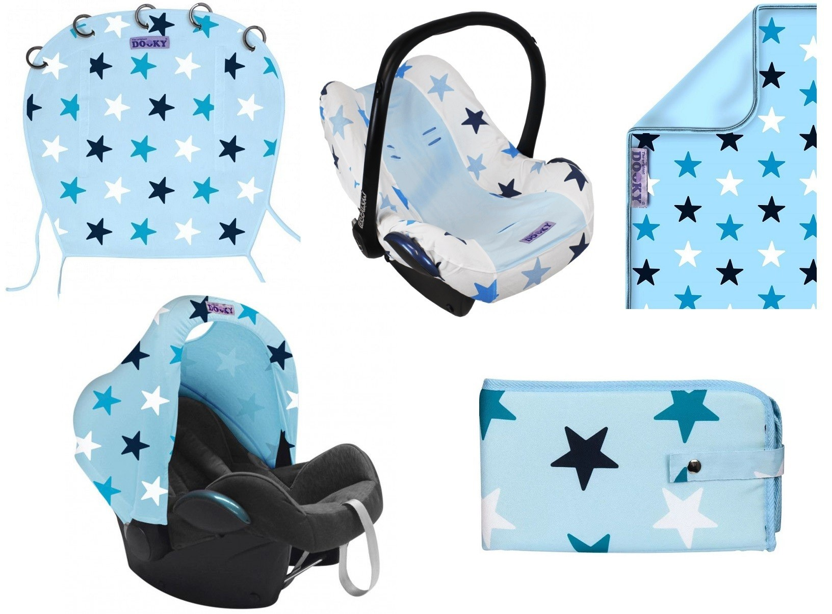 Image of SET   Dooky Hoody + Original + Blanket + Seat Cover + Changing Pack Blue Stars 34553